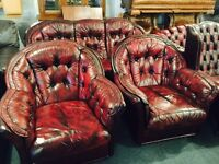 Chesterfield 3 11 leather sofa set in oxblood