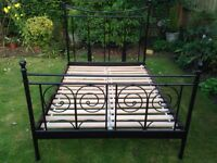 Metal double bed frame and mattress