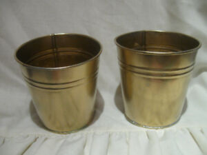 ATTRACTIVE PAIR VINTAGE METAL [TIN] MATCHING FLOWER-POTS