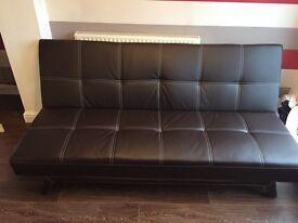 Brown leather sofa futon