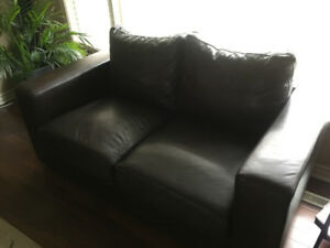 Authentic Dark Brown Leather Loveseat