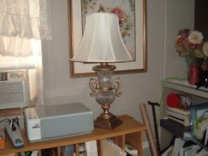 Two large crystal urn lamps with shades