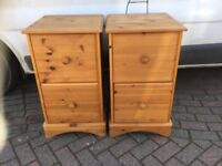 PAIR LARGE PINE BEDSIDE CUPBOARDS