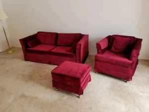Sofa bed and chair with ottoman
