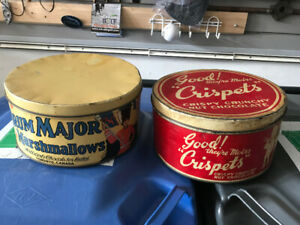 2 VINTAGE METAL COLLECTOR CANDY TINS DRUM MAJOR AND CRISPETS