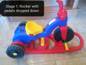 Fisher price rock, roll and ride converts and grows with child