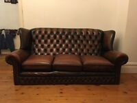 Brown Chesterfield Wingback Style 3 Seater Sofa