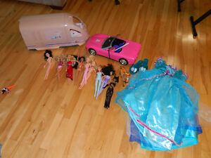 Barbie, Train and car plus frozen dress job lot look