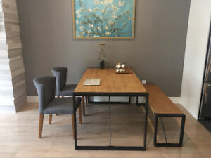 90% New Dining Table with two chairs and Bench