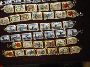 Vintage Czech made porcelain bracelets, 3 different styles