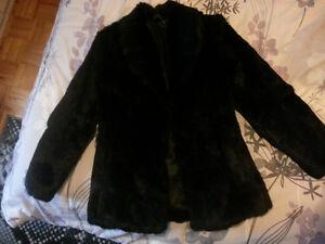 Black Rabbit Genuine Fur Coat Jacket Size S