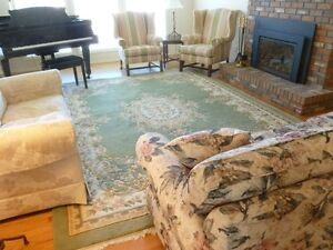 Sofa, loveseat, wool area rug- all for $125