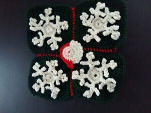 Handmade snowflakes with Santa crochet
