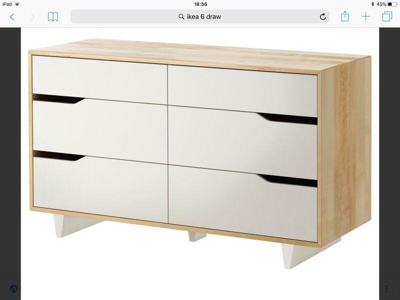 Ikea Askvoll White And Wood Six Draw Dresser