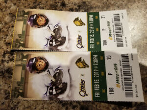 Knight ticket two in 108 for tonight Feb 15