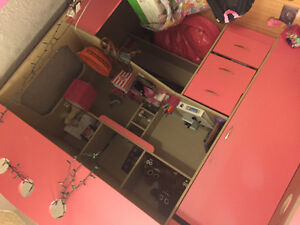 Children's pink loft bed