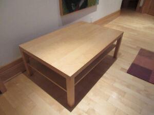Table basse salon IKEA, LACK, effet bouleau