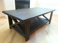 New Large Dark Solid Wood Rustic Coffee Table with X-Legs
