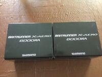 Shimano x aero 6000ra baitrunner reels x2 new