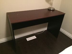 Cherry top (laminate) wood desk with black base