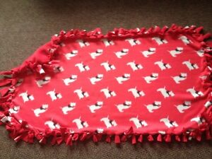 Dogs - red background- handmade fleece blanket