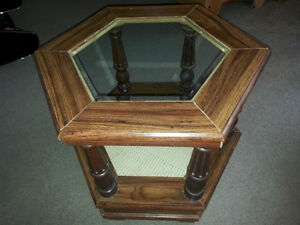 Hexagonal glass and wood side or coffee table