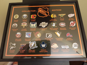 NHL Hockey Team Pin Set 26 pins - Framed - MINT NEW Retired