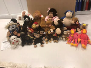 Stuffed animals. Lot of monkeys. Ty Beanie Babies,Manhattan Toy+