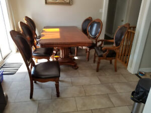 Dining set Big table 2 - inserts and 8 chairs Solid wood
