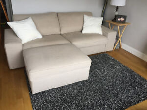 Large, Comfy & Beautiful Sectional Couch with Ottoman & Pillows