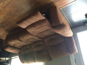 Brushed leather duel recliner