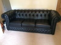 REAL LEATHER, low back sofa in black