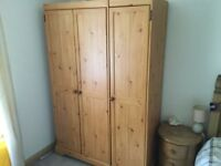 3 door pine wardrobe. Good condition