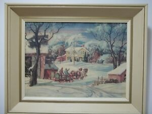 a vintage picture of a rustic winter scene
