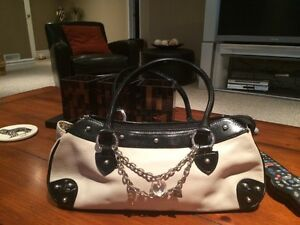 Danier Leather White and Black Bag for Sale
