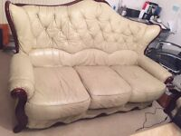 Three Seater Cream/Beige Leather Sofa **FREE*