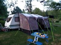 Sunncamp Ultima 390 Plus Awning with the extra canopy poles and caravan skirt