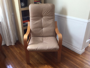 High back leather and wood chair