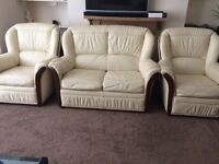 Cream Leather Suit (2+1+1) ** Good Condition ** Free Delivery ** £100