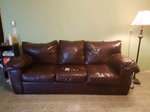 FREE old faux leather couch... pickup only