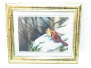 """2 CARDINALS SITTING IN A TREE"" WINTER SCENE FRAMED WALL PICTURE"