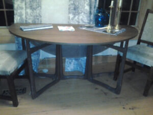 table en bois de tek  3 sections (ovale)