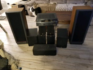 9 speaker surround system with receiver 450$obo