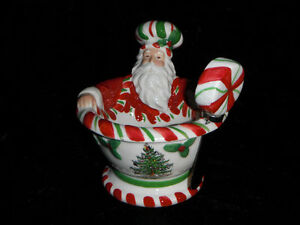 Santa Bowl with Spreader, Spode Christmas Tree Pattern.