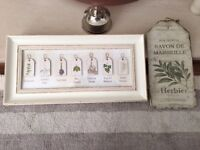 Pair of shabby chic pictures creams & greens