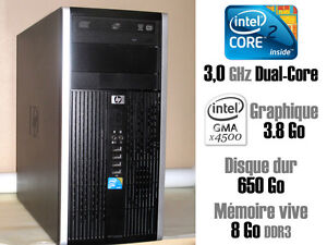 HP COMPAQ PRO INTEL CORE 2 DUO, 3.0 GHZ, DD 650 GO, RAM 8 GO
