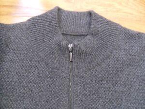Brand new men's Italian half zip sweater wool/cashmere l/xl
