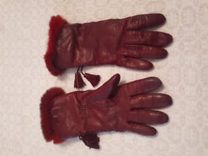 Red leather women's gloves - made in Italy!
