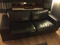 Reids Black Leather Suite For Sale