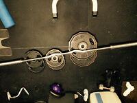 7 ft olympic curl bar and 190 pounds in olympic weight